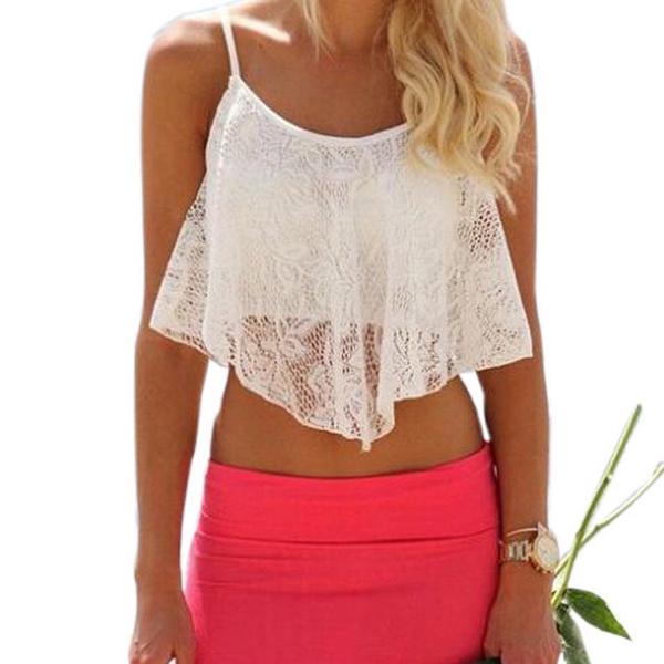Summer, Lace, Vintage, Tops