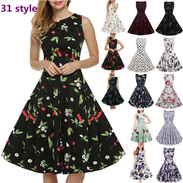 Swing dress, sleeveless, pleated dress, Floral