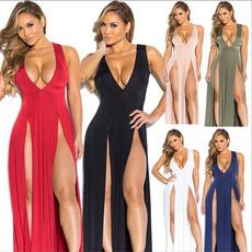 Deep V-Neck, Summer, Moda, Sexy Dress