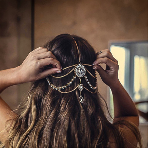 boho, Jewelry, weddinghairaccessory, Crystal
