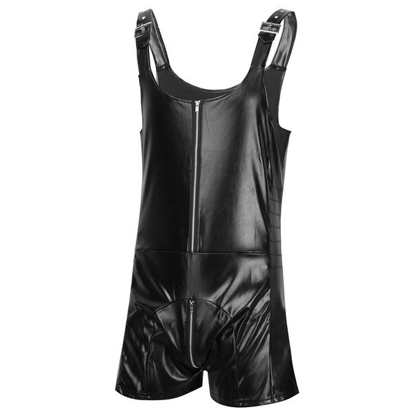bulgepouchbodysuit, clubwear, leatherbodysuit, mensbodysuit