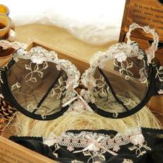 transparentlaceembroiderybra, sexylingerieset, Cup, bras for women
