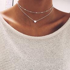 Heart, Chain Necklace, colarduplomoeda, Jewelry