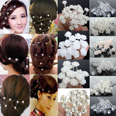 Flowers, Jewelry, Crystal, Hair Pins