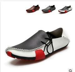 Flats, men's fashion shoes, leather, Big yards
