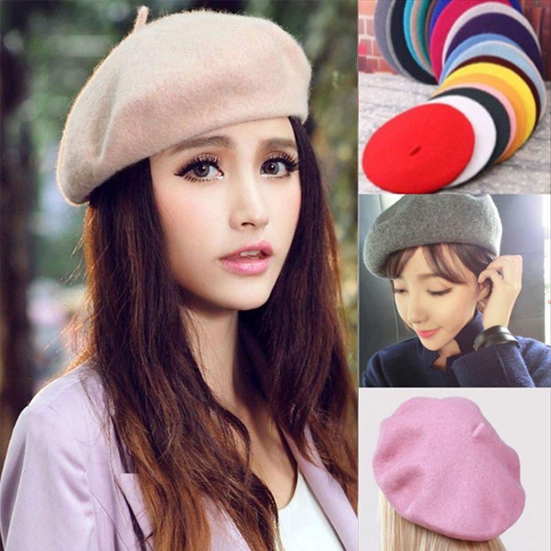 1pc Women 100/% Warm Wool Winter Girl Beret French Artist Beanie Hat Ski Cap Gift