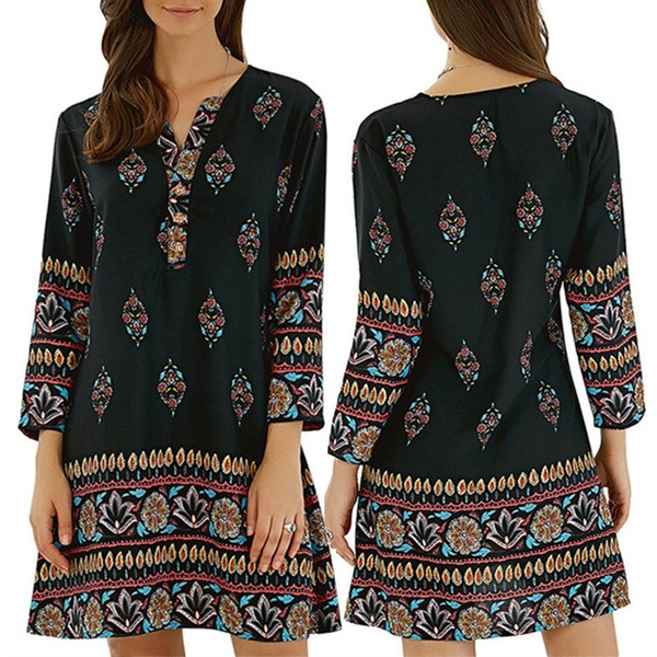 sleeve v-neck, Summer, short dresses, Long Sleeve Dresses