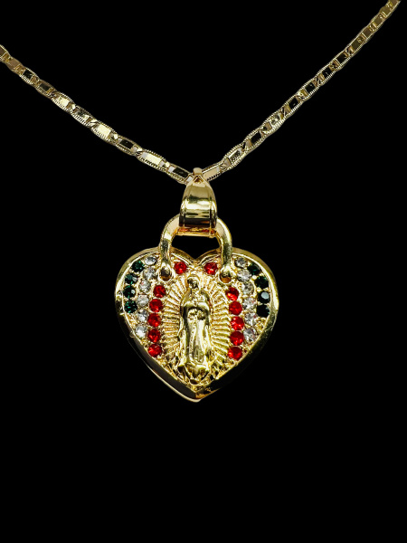 ourladyofguadalupenecklace, Jewelry, gold, Heart