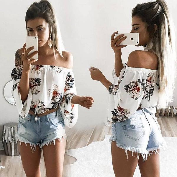 women shirt Blouse, Summer, Fashion, Floral print