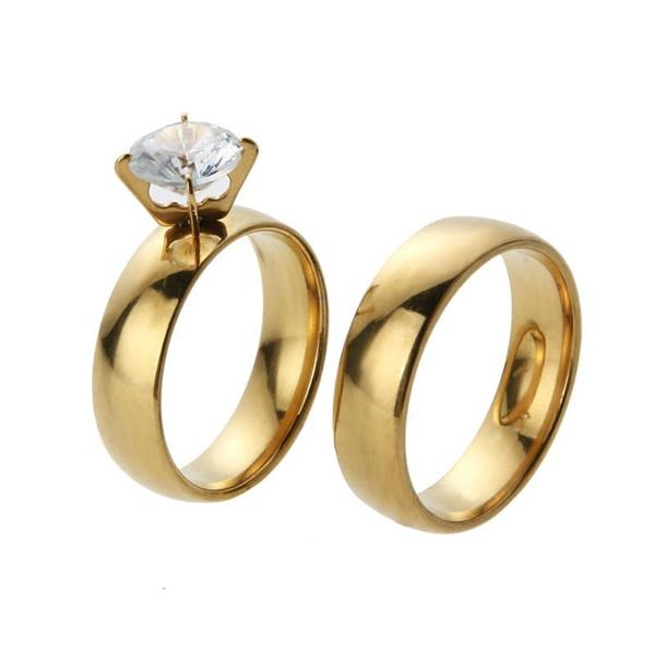 Cubic Zirconia, Steel, weddingengagementring, Stainless Steel