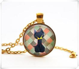 Necklace, origami, black, Jewelry