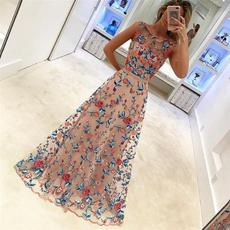 sleeveless, Floral, long dress, Evening Dress