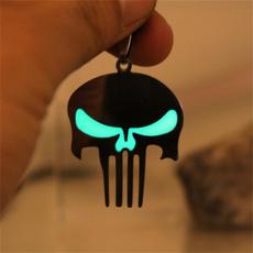 punisherskullnecklace, amulet, luminousnecklace, punk necklace