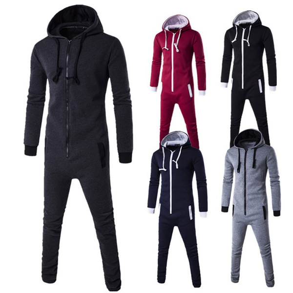 Unisex Men Winter Fashion Hooded Jumpsuit Onesie All In One Jumpsuits Pajamas Wish
