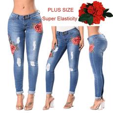 Plus Size, Ladies Fashion, pants, rippedjean