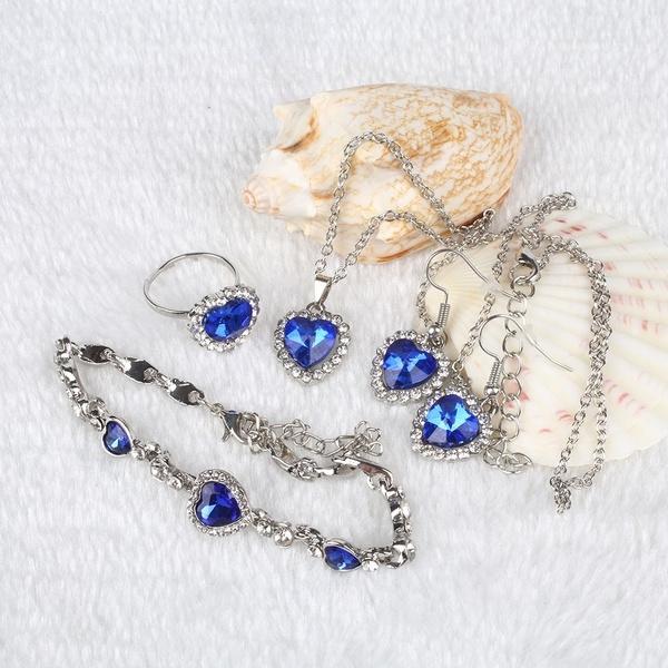 Blues, Heart, Set, Jewelry