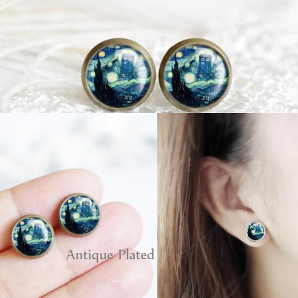 Box, Jewelry, vintage earrings, Stud Earring