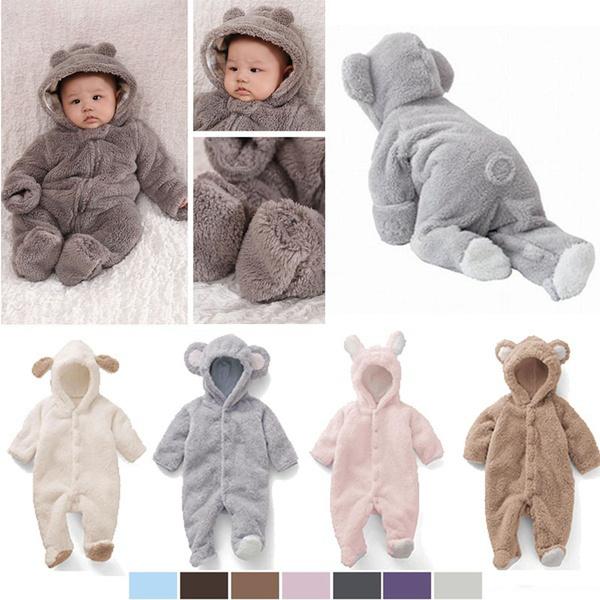 Fleece, hooded, babyromper, Winter