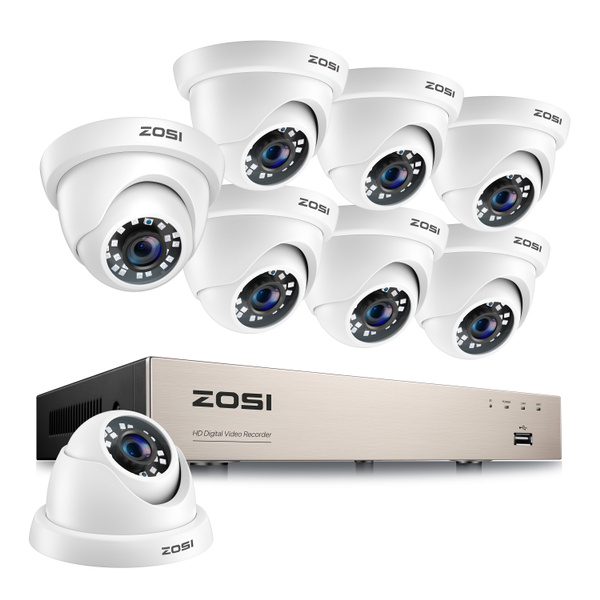 Zosi 8 Channel Hd Tvi 1080n 720p Dvr Ip66 Waterproof Outdoor Home Office Cctv Security Surveillance System With 8pcs High Resolution 720p 1280tvl 24pcs Ir Cut Leds Day Night Vision Cameras Wish