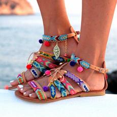 womensleathershoe, Flats, strappysandal, Womens Shoes