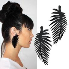 Black Earrings, earrings jewelry, Dangle Earring, feathershapeearring