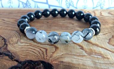 wristbracelet, rutilatedquartzbracelet, quartz, black bracelet