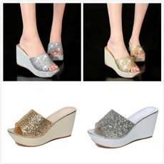 Sandals, thickheel, bling bling, wedgesheel