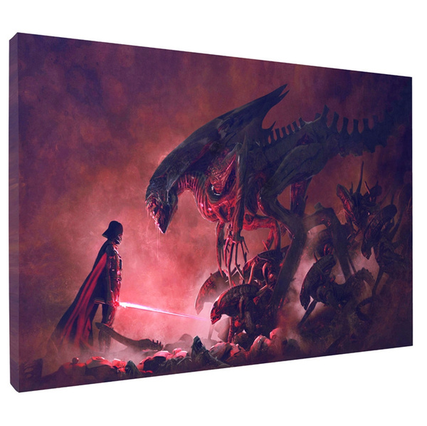 aliensvsdarthvaderstarwar, framelesscanva, art, Home Decor