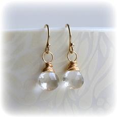 quartz, smallquartzearring, Jewelry, gold