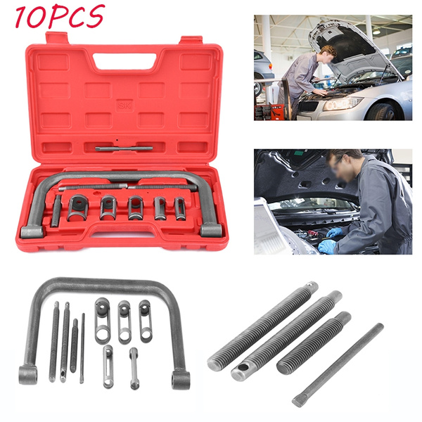 Spring Compressor Set,10 Pcs Valve Spring Compressor Set Removal Installer Tool Kit For Car Van Motorcycle Engines