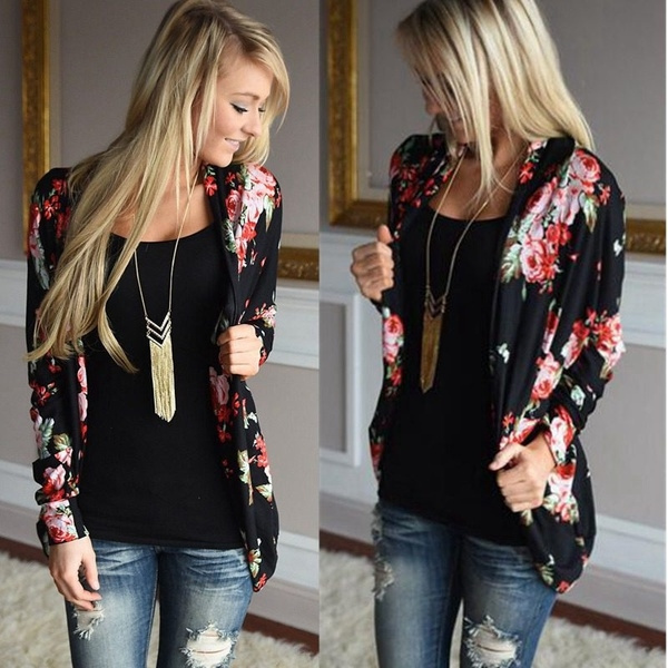 cardigan, Floral print, Outerwear, Sleeve
