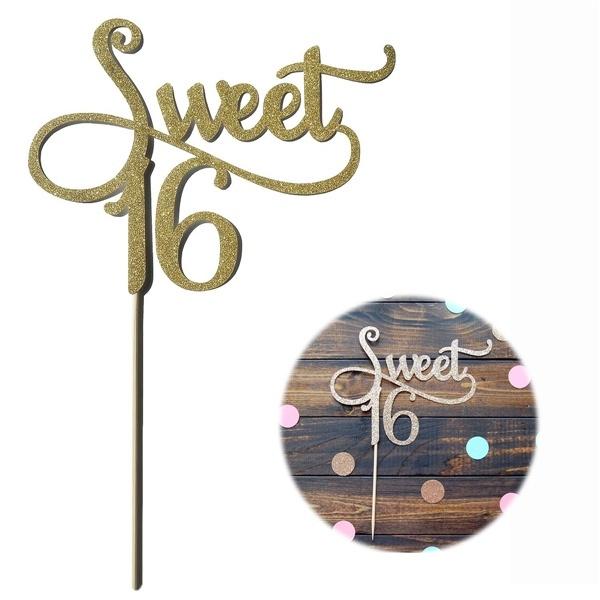16birthday, Jewelry, gold, cakepick