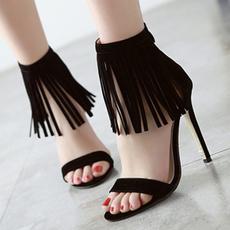 Summer, Tassels, Sandals, Womens Shoes