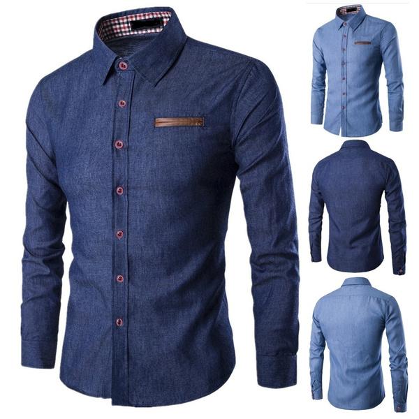 Fashion, mensdenimshirt, Long Sleeve, Spring