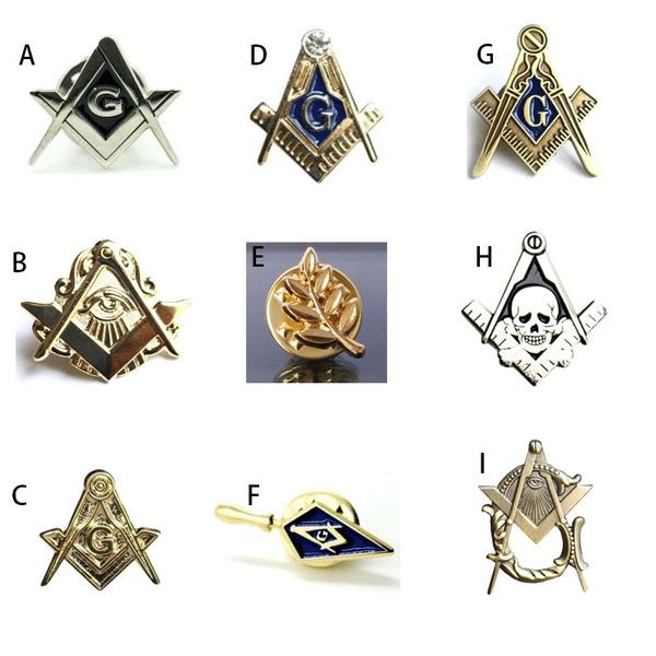 goldplated, squarecompasssymbol, freemasonryaccessorie, Pins