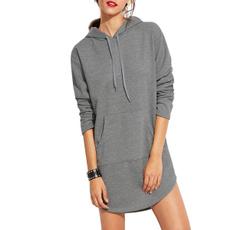 womencasualhoodie, Gray, longsleeveminidre, hoodedsweatshirtsforwomen