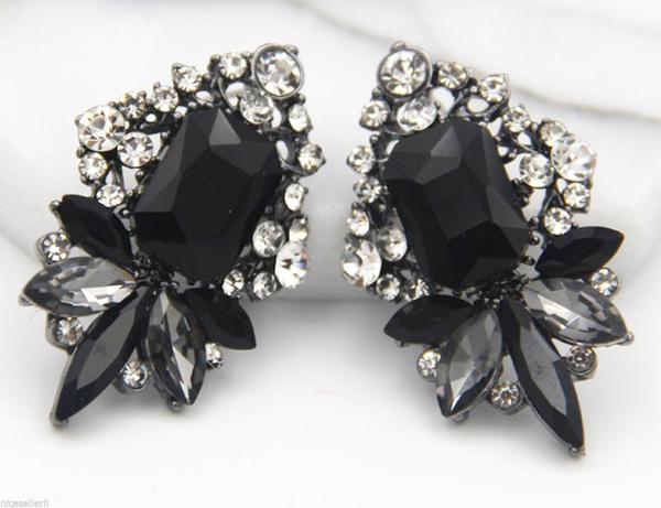 Women, black, Fashion, Gemstone Earrings