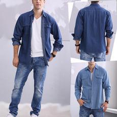 Fashion, mensdenimshirt, men clothing, Long Sleeve