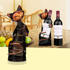 metalsculpture, catwineholder, wineholder, handicraft