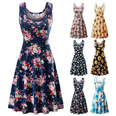 Sleeveless dress, flareddres, tankdres, Summer