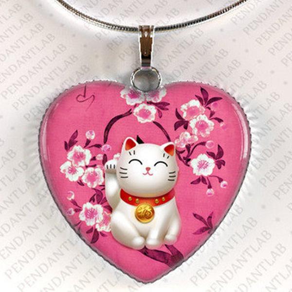 pink, japannecklace, manekinekopendantnecklace, Jewelry
