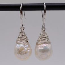 baroquepearl, sterlingsilverwire, Pearl Earrings, Jewelry