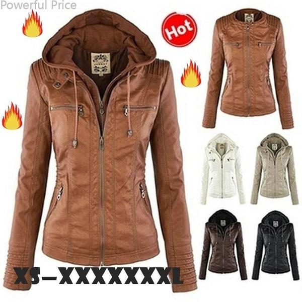 women leather jacket zipper