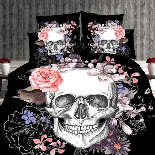Set 3d Skull Bedding Queen Size, King And Queen Skull Bedding