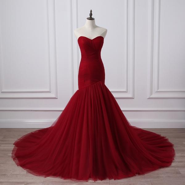 mermaid, Plus Size, winereddres, Evening Dress