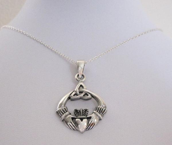 monogram, danglecharmnecklace, Irish, triquetracelticknot
