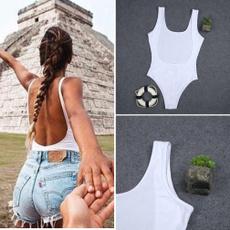 summerwear, Body Suit, Round neck, Women's Fashion