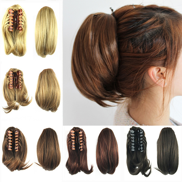 8 Colors Curly Short Hair Ponytail Wigs Claw Clip Hair Pieces Hair Extensions Little Pony Tail Wish