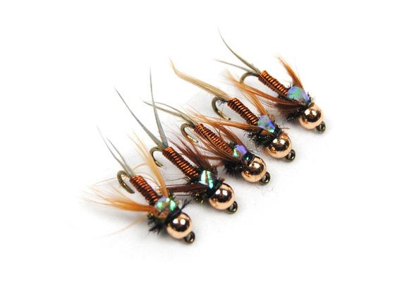 12 pcs lot Laiton perle tête nymphe truite mouches de pêche naufrage