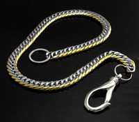 12mm Tow Tone Polished Stainless Biker Wallet Chain Pants Jeans chain